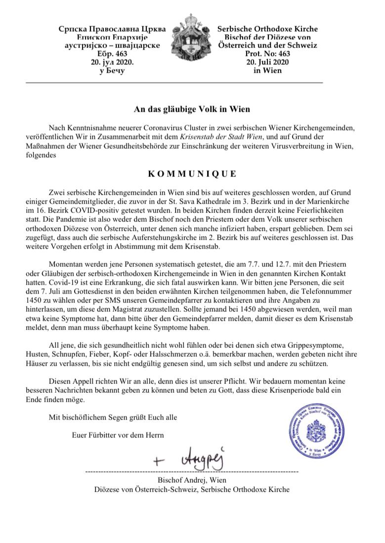 An das gläubige Volk in Wien-Kommunique