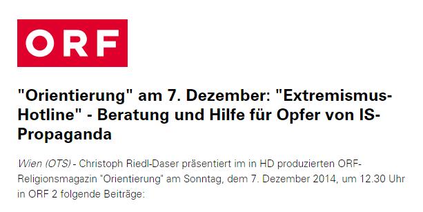 """Емисија """"Orientierung"""" у недељу, 7. децембра, ORF2"""